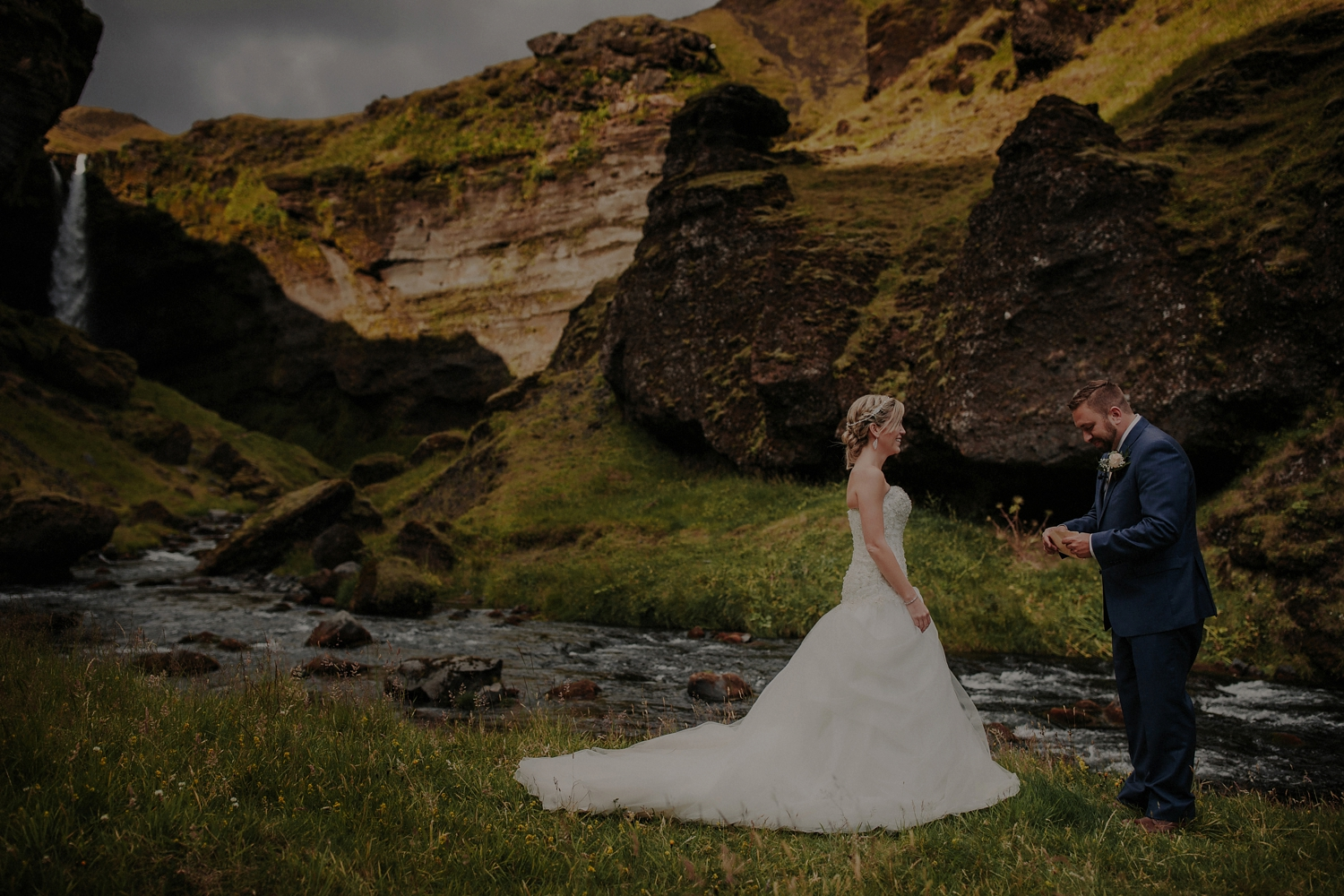 Kvernufoss Waterfall Elopement