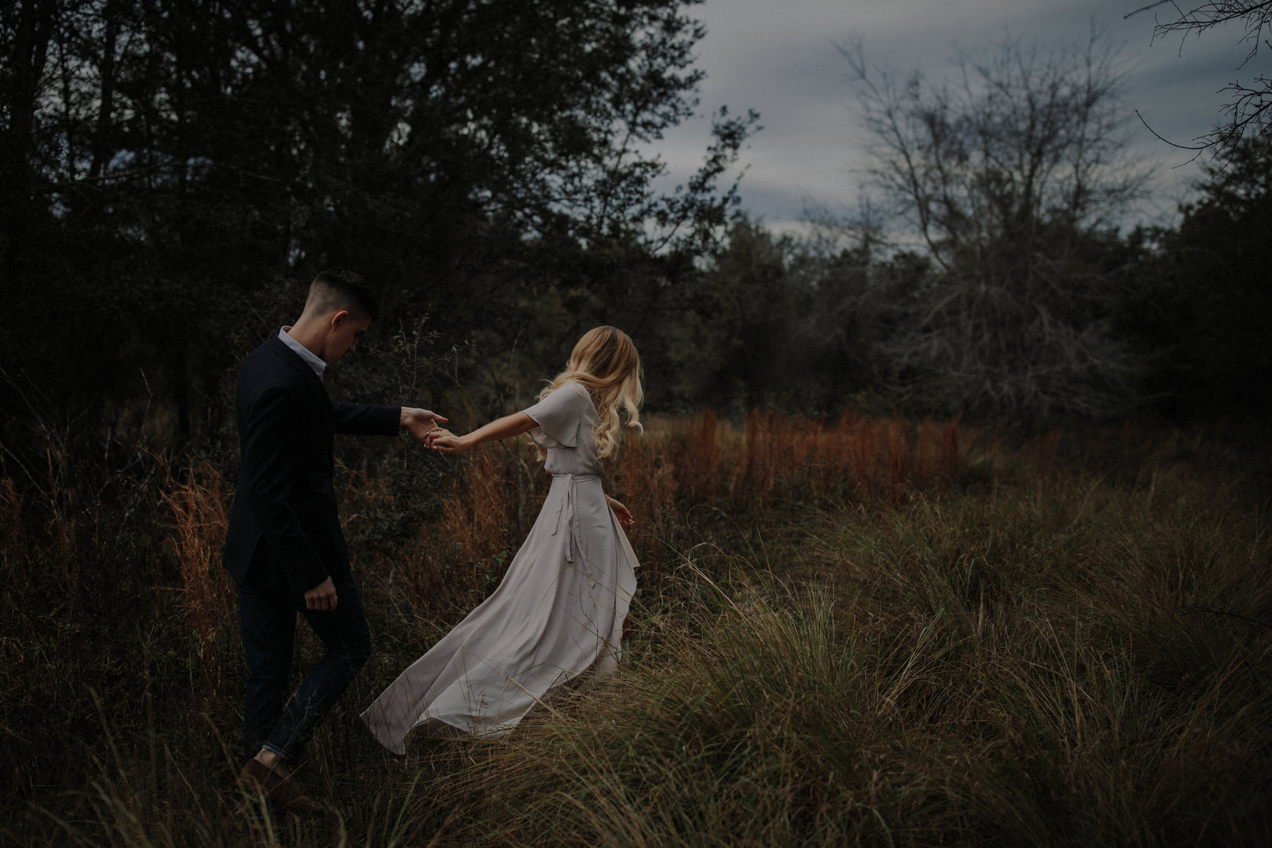 dark and moody engagement photos